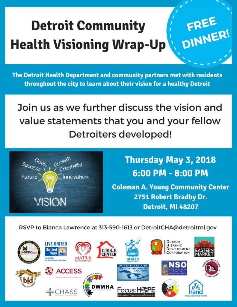Flyer for Detroit Community Health Visioning Wrap-up on May 3 2018